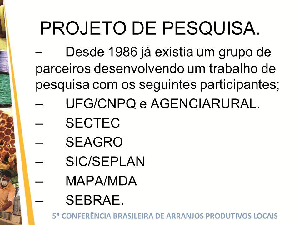 PROJETO DE PESQUISA. – Desde 1986 já existia um grupo de parceiros desenvolvendo um trabalho de pesquisa com os seguintes participantes; –UFG/CNPQ e A