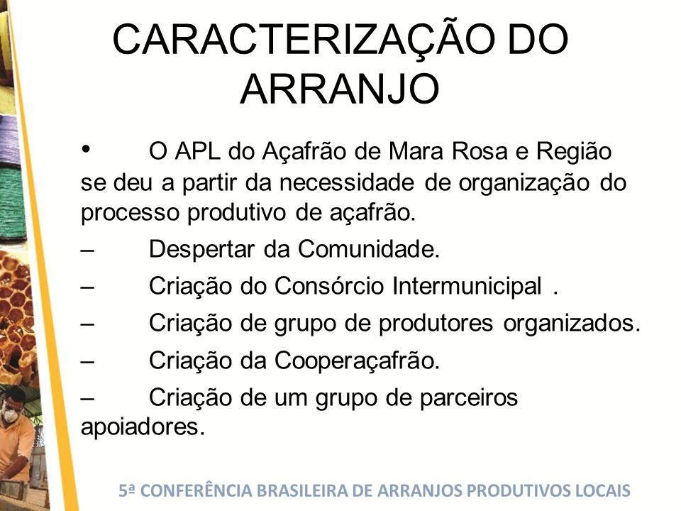 CARACTERIZAÇÃO DO ARRANJO O APL do Açafrão de Mara Rosa e Região se deu a partir da necessidade de organização do processo produtivo de açafrão. – Des