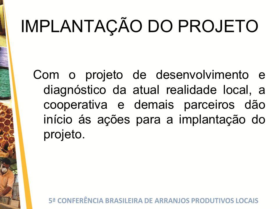 IMPLANTAÇÃO DO PROJETO Com o projeto de desenvolvimento e diagnóstico da atual realidade local, a cooperativa e demais parceiros dão início ás ações p
