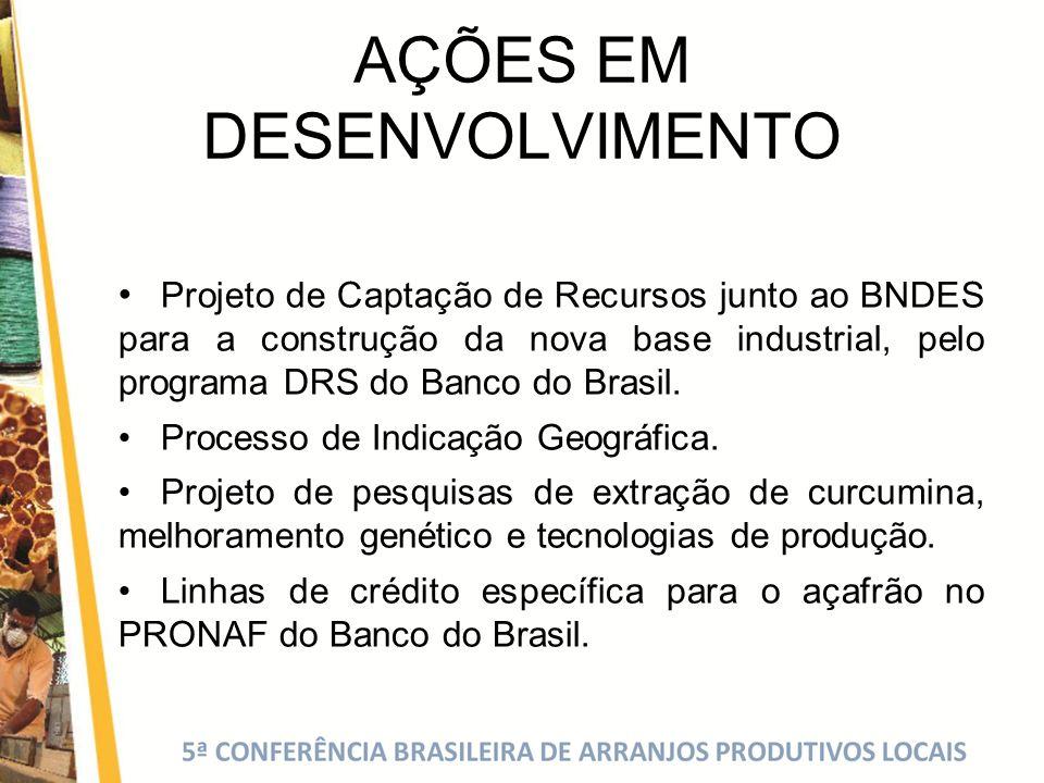 AÇÕES EM DESENVOLVIMENTO Projeto de Captação de Recursos junto ao BNDES para a construção da nova base industrial, pelo programa DRS do Banco do Brasi