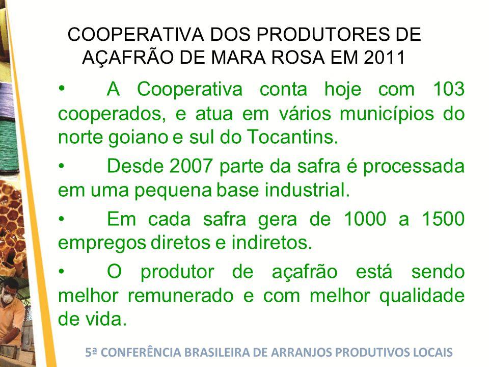COOPERATIVA DOS PRODUTORES DE AÇAFRÃO DE MARA ROSA EM 2011 A Cooperativa conta hoje com 103 cooperados, e atua em vários municípios do norte goiano e