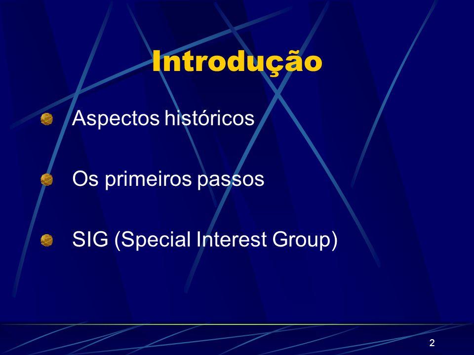 2 Introdução Aspectos históricos Os primeiros passos SIG (Special Interest Group)