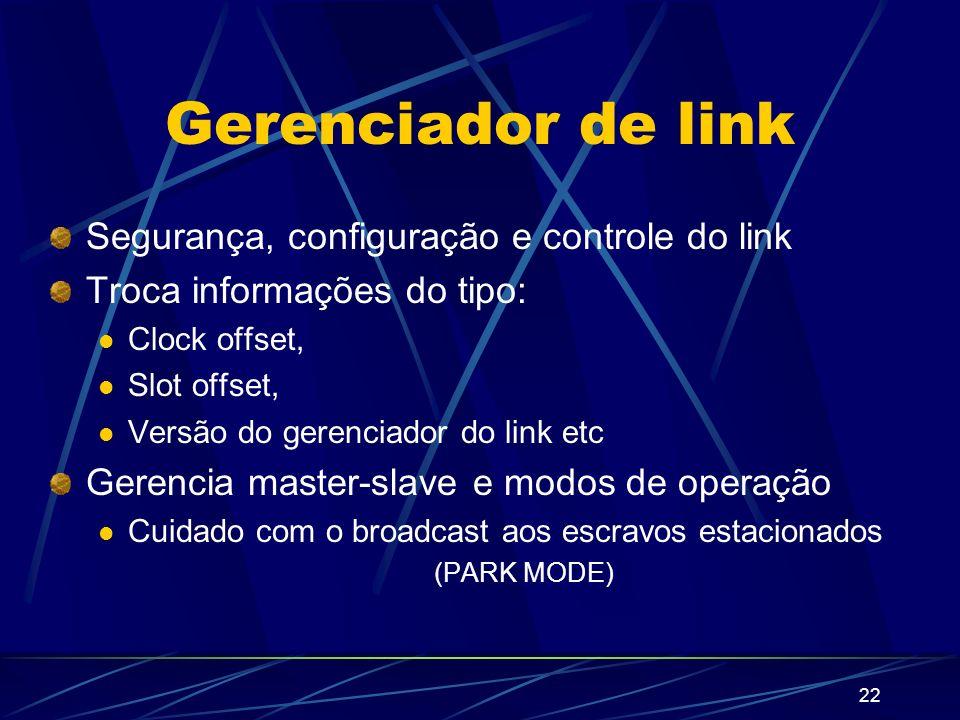 22 Gerenciador de link Segurança, configuração e controle do link Troca informações do tipo: Clock offset, Slot offset, Versão do gerenciador do link
