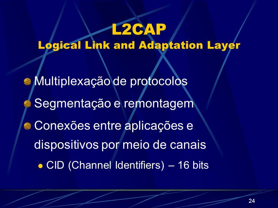24 L2CAP Logical Link and Adaptation Layer Multiplexação de protocolos Segmentação e remontagem Conexões entre aplicações e dispositivos por meio de c