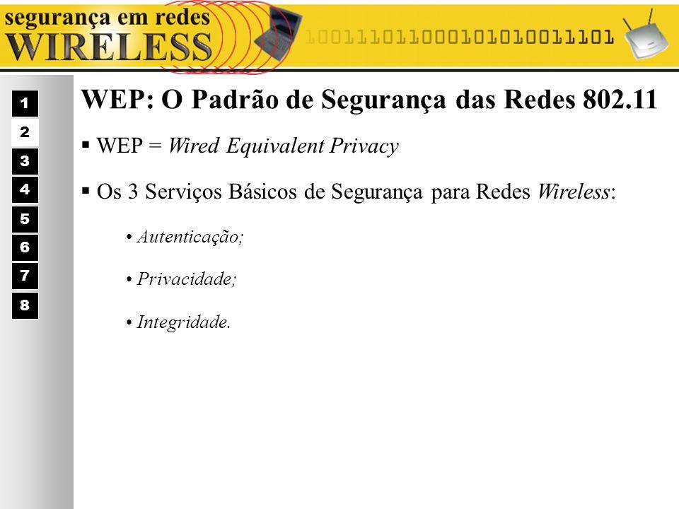 WEP: O Padrão de Segurança das Redes 802.11 WEP = Wired Equivalent Privacy Os 3 Serviços Básicos de Segurança para Redes Wireless: 1 2 3 4 5 6 7 Auten