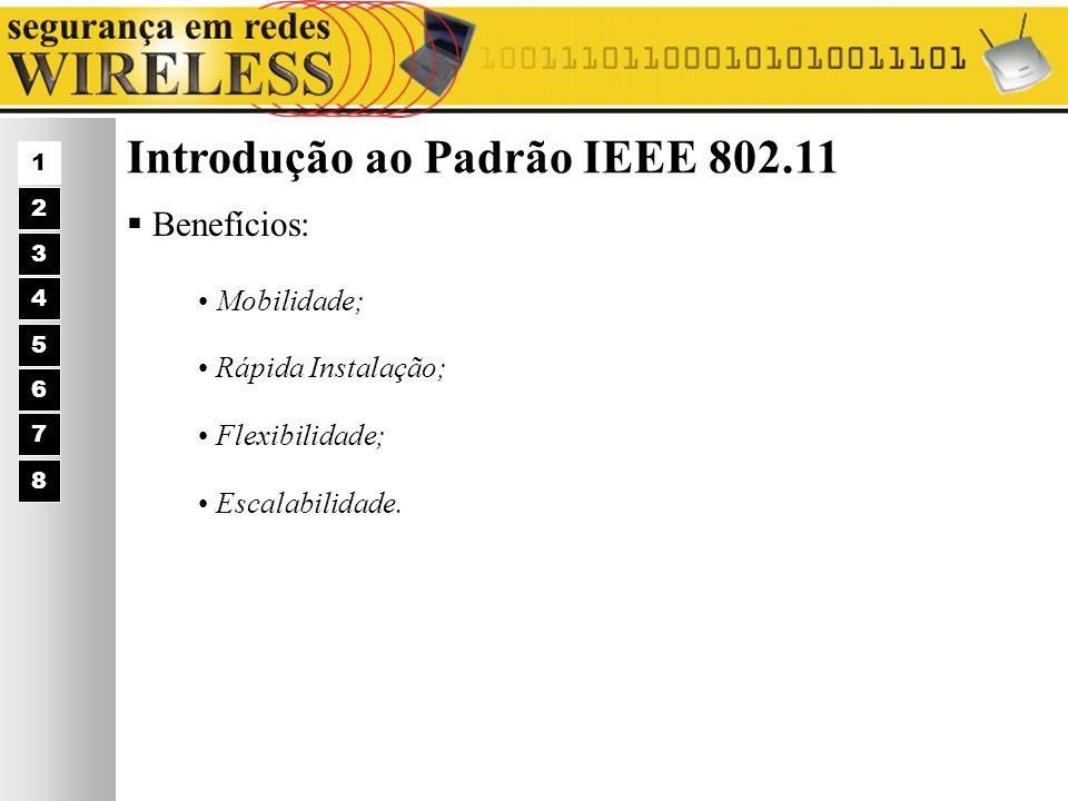 Introdução ao Padrão IEEE 802.11 Benefícios: Mobilidade; Rápida Instalação; Flexibilidade; Escalabilidade. 1 2 3 4 5 6 7 8