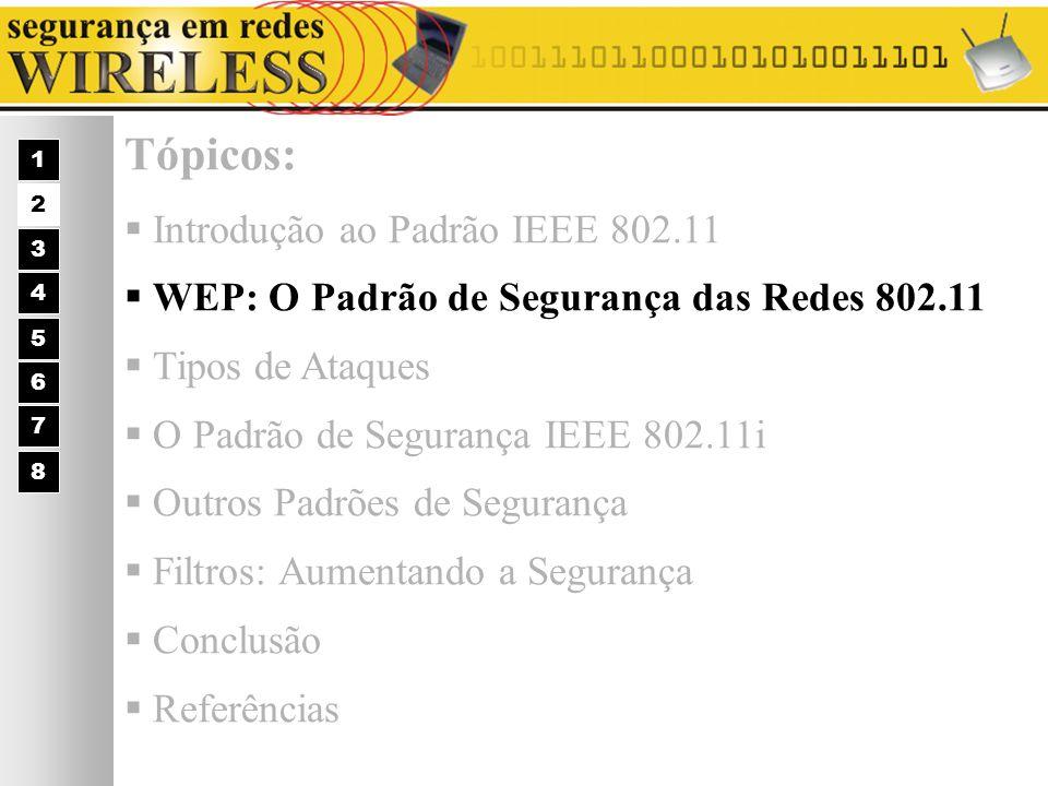 WEP: O Padrão de Segurança das Redes 802.11 WEP = Wired Equivalent Privacy Os 3 Serviços Básicos de Segurança para Redes Wireless: 1 2 3 4 5 6 7 Autenticação; Privacidade; Integridade.