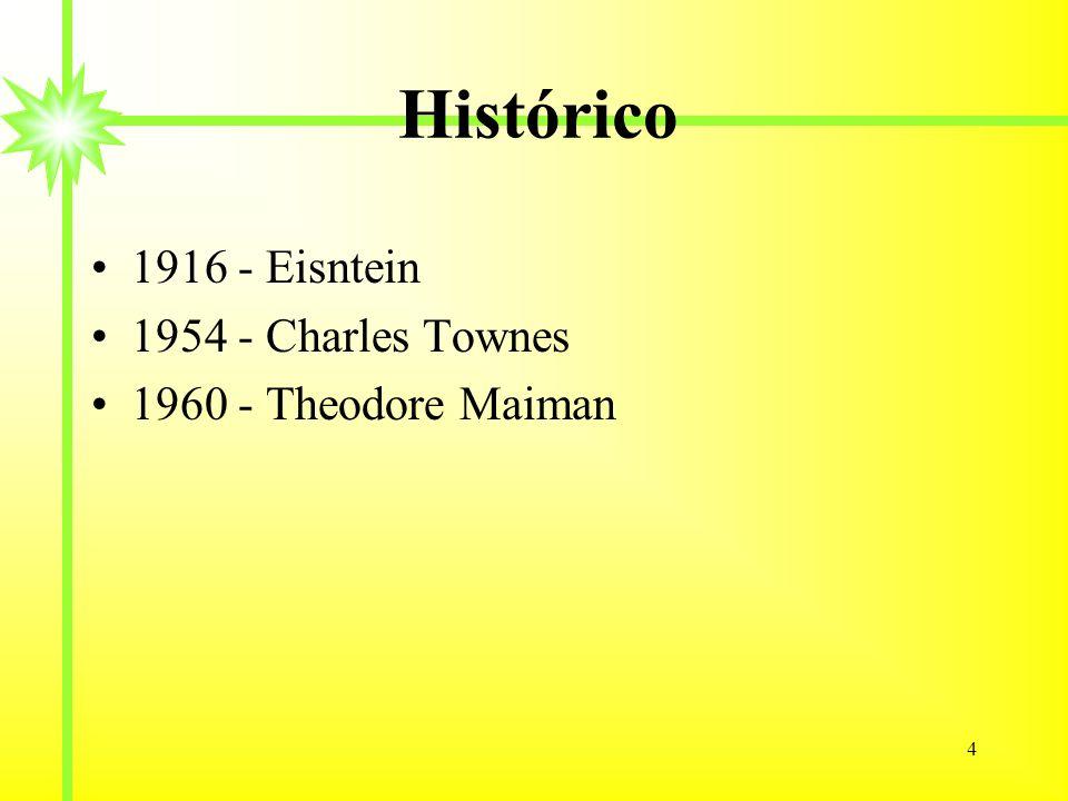 4 Histórico 1916 - Eisntein 1954 - Charles Townes 1960 - Theodore Maiman