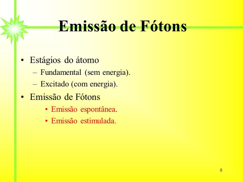 8 Emissão de Fótons Estágios do átomo –Fundamental (sem energia). –Excitado (com energia). Emissão de Fótons Emissão espontânea. Emissão estimulada.