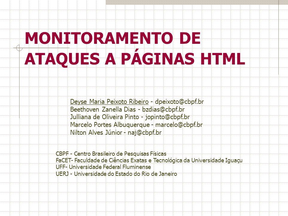 MONITORAMENTO DE ATAQUES A PÁGINAS HTML CBPF - Centro Brasileiro de Pesquisas Físicas FaCET- Faculdade de Ciências Exatas e Tecnológica da Universidad