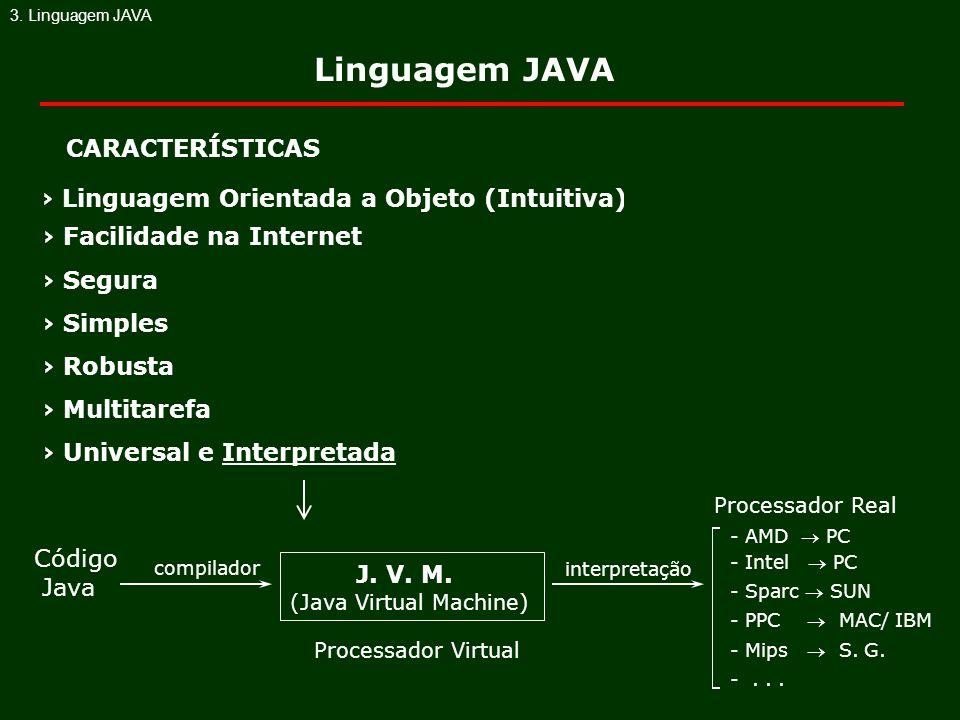 Linguagem Orientada a Objeto (Intuitiva) Facilidade na Internet Segura Simples Robusta Multitarefa Universal e Interpretada CARACTERÍSTICAS Código Jav