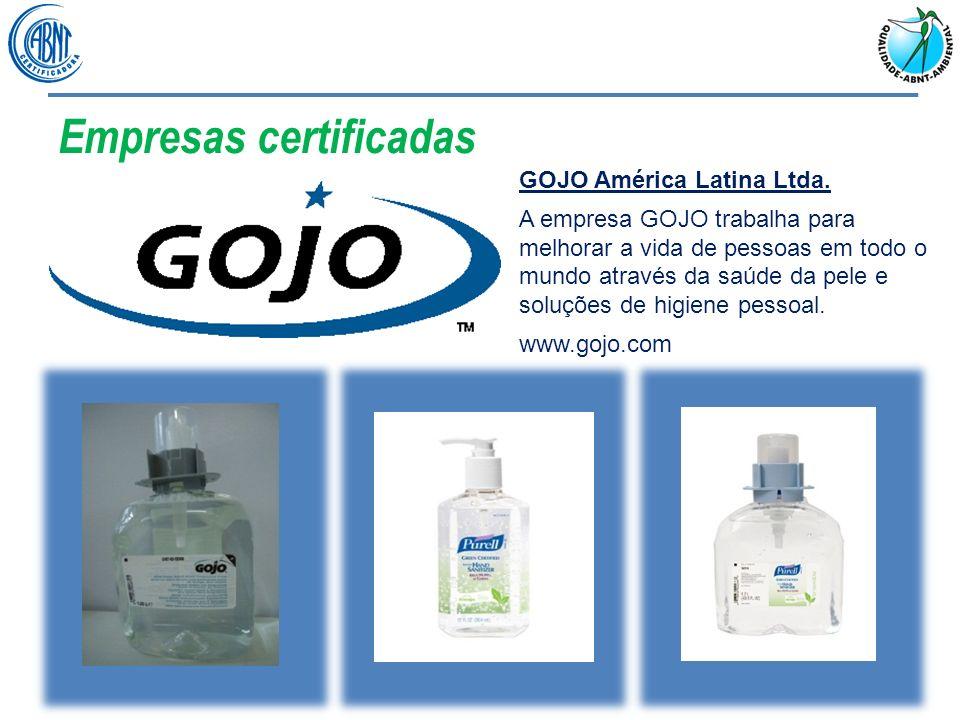 Empresas certificadas GOJO América Latina Ltda. A empresa GOJO trabalha para melhorar a vida de pessoas em todo o mundo através da saúde da pele e sol