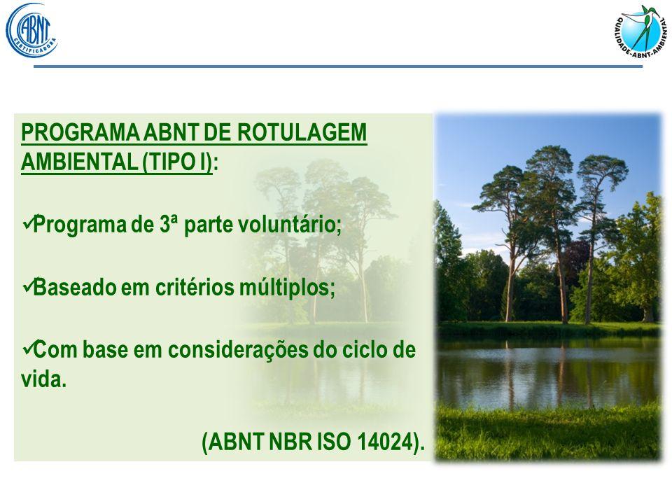 ABNT NBR ISO 14020: Rótulos e declarações ambientais – Princípios gerais: Objetivo dos rótulos e declarações ambientais Princípios gerais dos rótulos ambientais ABNT NBR ISO 14024: Rótulos e declarações ambientais – Rotulagem ambiental do tipo I – Princípios e procedimentos: Princípios e procedimentos da rotulagem ambiental do tipo I Certificação e conformidade REFERENCIAL NORMATIVO PG-11:Procedimento Geral da Marca ABNT - Qualidade Ambiental: Funcionamento geral do programa Solicitação e fornecimento do serviço Uso de laboratórios e da marca PG-12:Diretrizes para Elaboração dos Critérios da Marca ABNT- Qualidade Ambiental: Princípios Preparação dos critérios Atualizações e revisões PE-XX:Rótulo ecológico para : Conjunto de critérios Procedimento de avaliação da conformidade