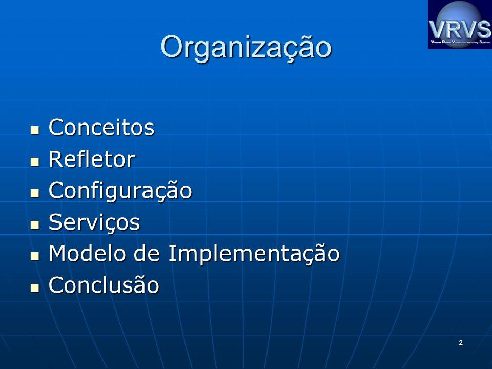 2 Organização Conceitos Conceitos Refletor Refletor Configuração Configuração Serviços Serviços Modelo de Implementação Modelo de Implementação Conclusão Conclusão