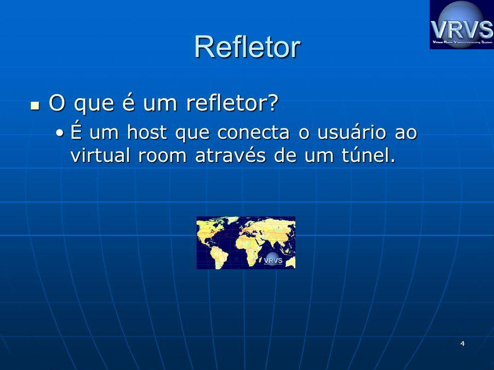4 Refletor O que é um refletor? O que é um refletor? É um host que conecta o usuário ao virtual room através de um túnel.É um host que conecta o usuár