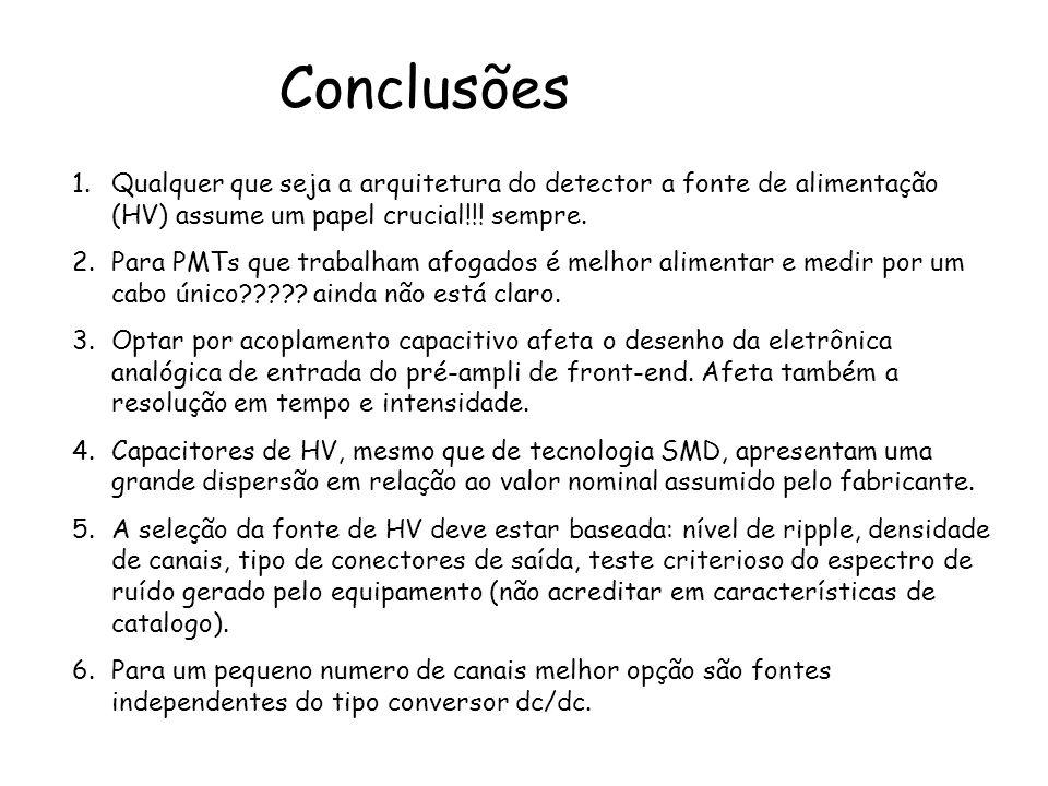Conclusões 1.Qualquer que seja a arquitetura do detector a fonte de alimentação (HV) assume um papel crucial!!! sempre. 2.Para PMTs que trabalham afog