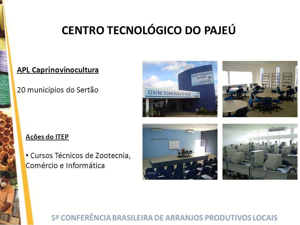 APL Caprinovinocultura 20 municípios do Sertão Ações do ITEP Cursos Técnicos de Zootecnia, Comércio e Informática CENTRO TECNOLÓGICO DO PAJEÚ