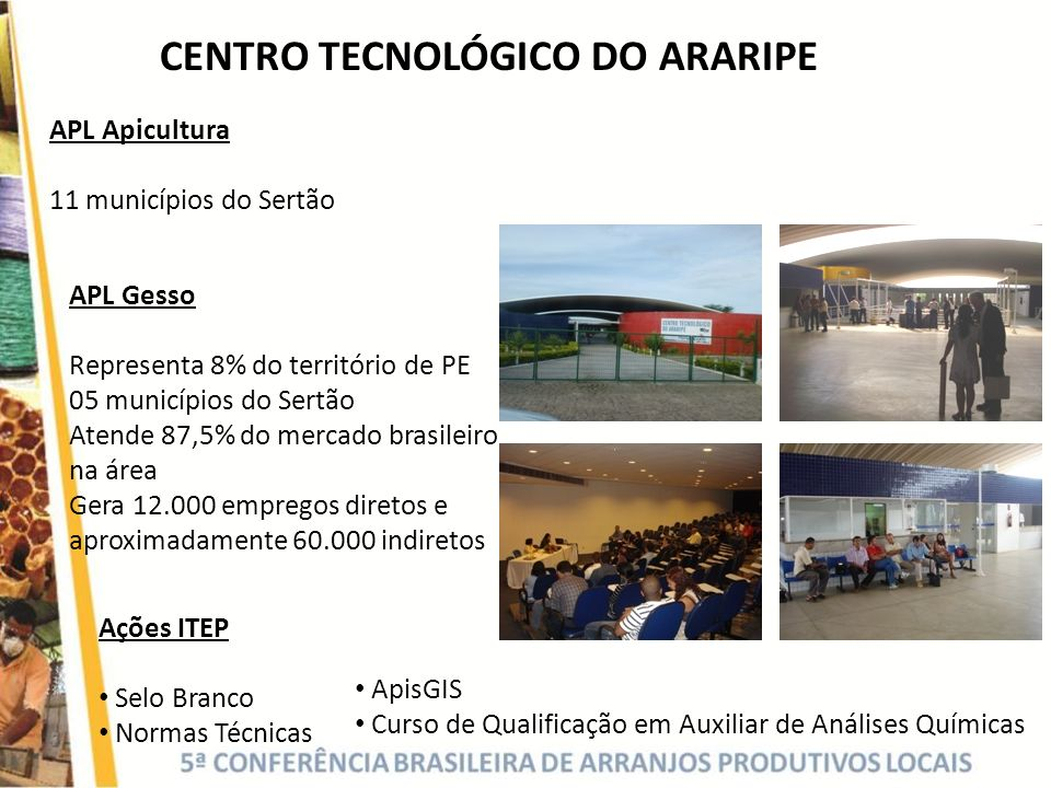 CENTRO TECNOLÓGICO DO ARARIPE APL Apicultura 11 municípios do Sertão APL Gesso Representa 8% do território de PE 05 municípios do Sertão Atende 87,5%