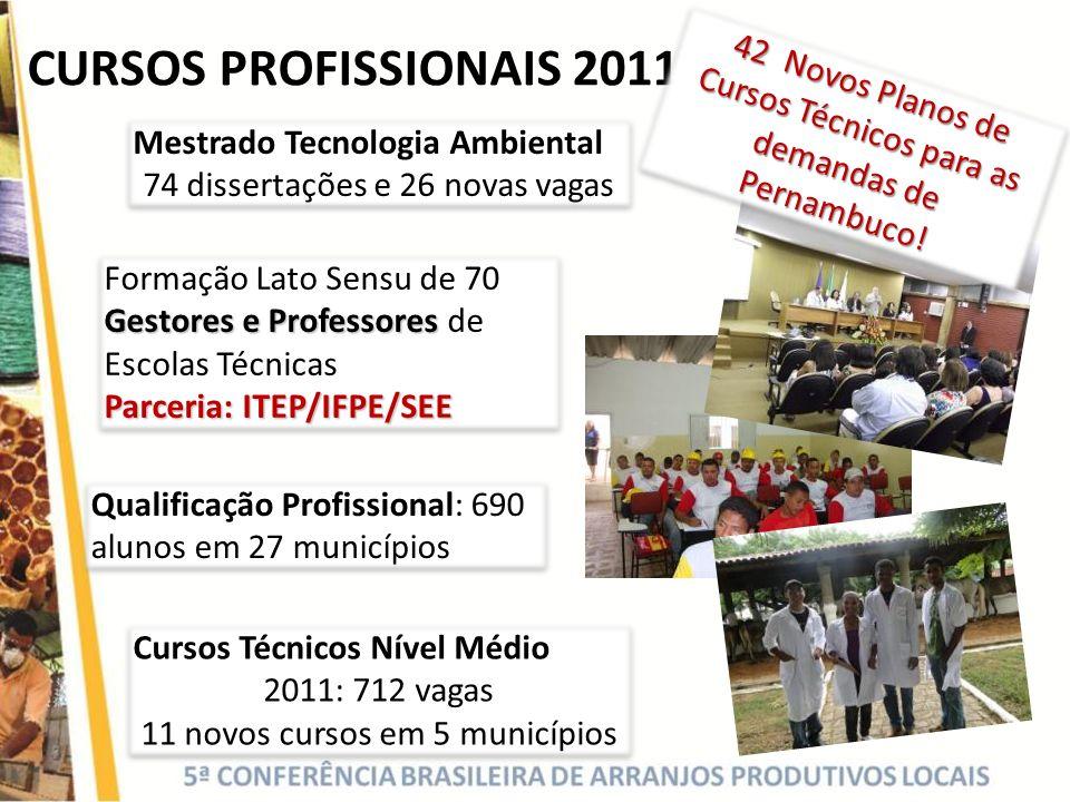 CURSOS PROFISSIONAIS 2011 Gestores e Professores Formação Lato Sensu de 70 Gestores e Professores de Escolas Técnicas Parceria: ITEP/IFPE/SEE Gestores