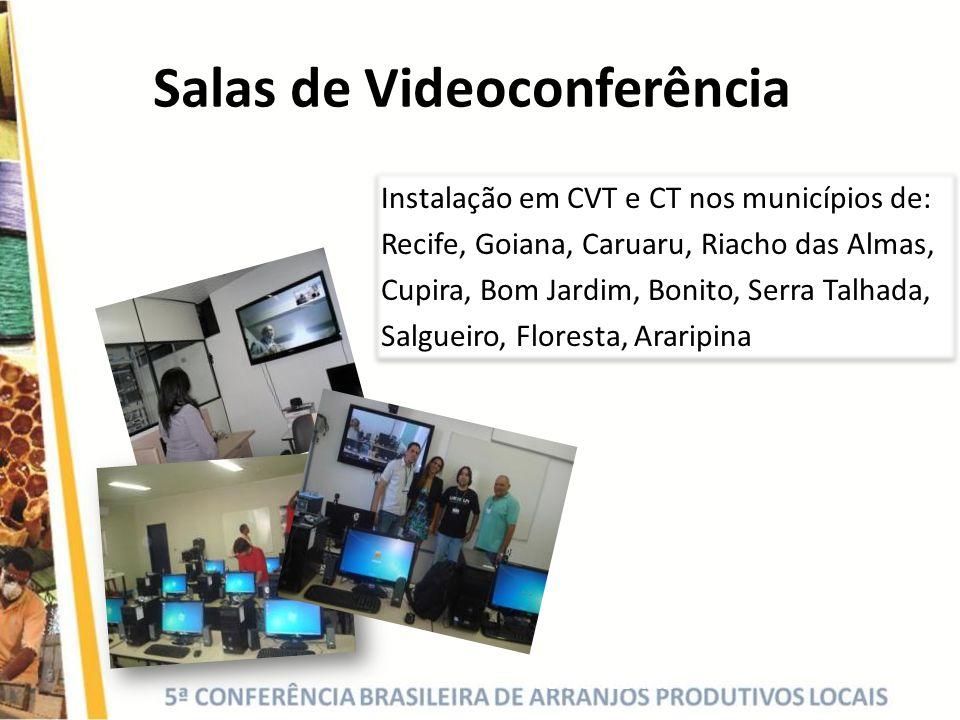Salas de Videoconferência Instalação em CVT e CT nos municípios de: Recife, Goiana, Caruaru, Riacho das Almas, Cupira, Bom Jardim, Bonito, Serra Talha
