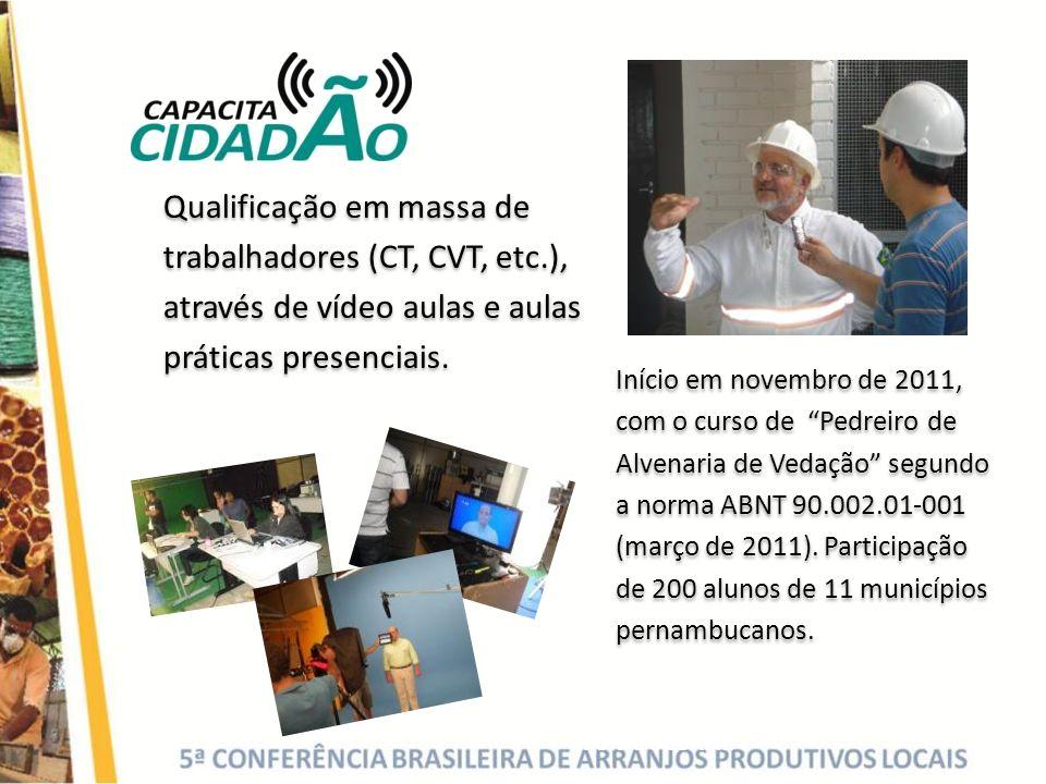 Fonte SEBRAE Qualificação em massa de trabalhadores (CT, CVT, etc.), através de vídeo aulas e aulas práticas presenciais. Início em novembro de 2011,