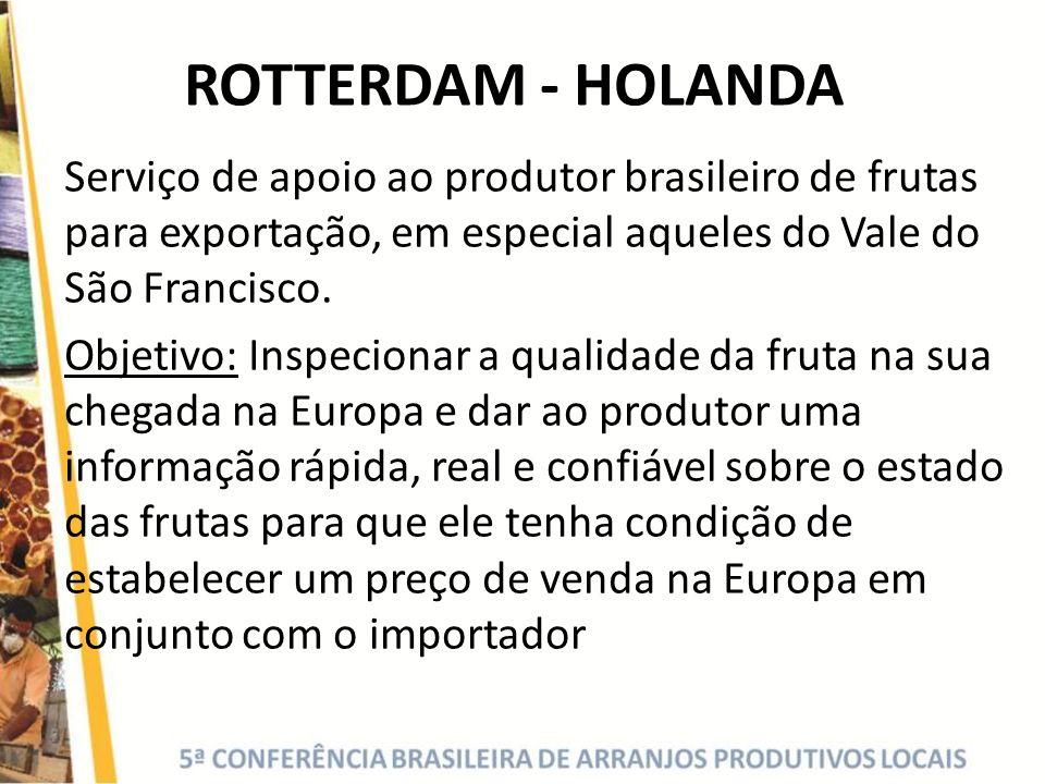 ROTTERDAM - HOLANDA Serviço de apoio ao produtor brasileiro de frutas para exportação, em especial aqueles do Vale do São Francisco. Objetivo: Inspeci
