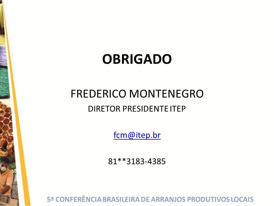 OBRIGADO FREDERICO MONTENEGRO DIRETOR PRESIDENTE ITEP fcm@itep.br 81**3183-4385