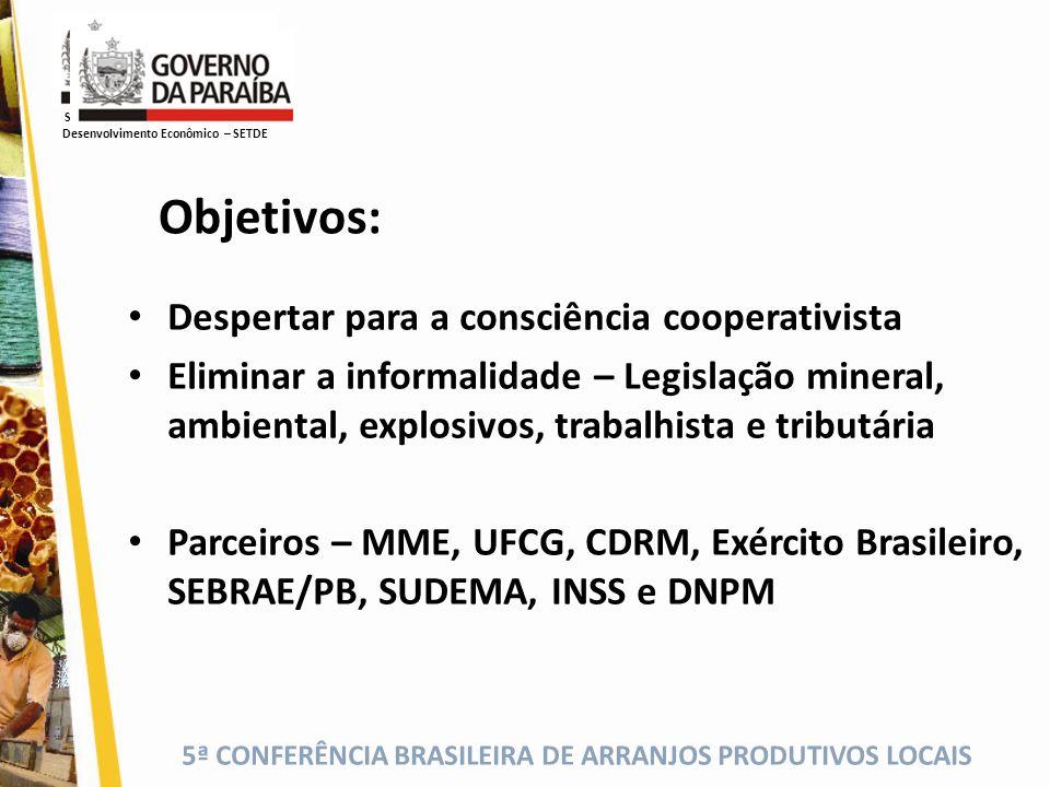 5ª CONFERÊNCIA BRASILEIRA DE ARRANJOS PRODUTIVOS LOCAIS Despertar para a consciência cooperativista Eliminar a informalidade – Legislação mineral, amb