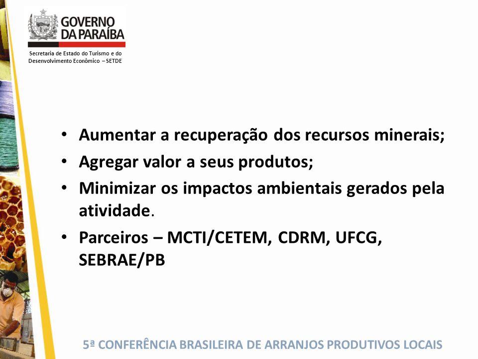 5ª CONFERÊNCIA BRASILEIRA DE ARRANJOS PRODUTIVOS LOCAIS Aumentar a recuperação dos recursos minerais; Agregar valor a seus produtos; Minimizar os impa