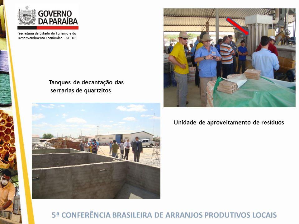 5ª CONFERÊNCIA BRASILEIRA DE ARRANJOS PRODUTIVOS LOCAIS Unidade de aproveitamento de resíduos Tanques de decantação das serrarias de quartzitos Secret
