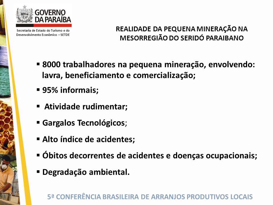 5ª CONFERÊNCIA BRASILEIRA DE ARRANJOS PRODUTIVOS LOCAIS 8000 trabalhadores na pequena mineração, envolvendo: lavra, beneficiamento e comercialização;