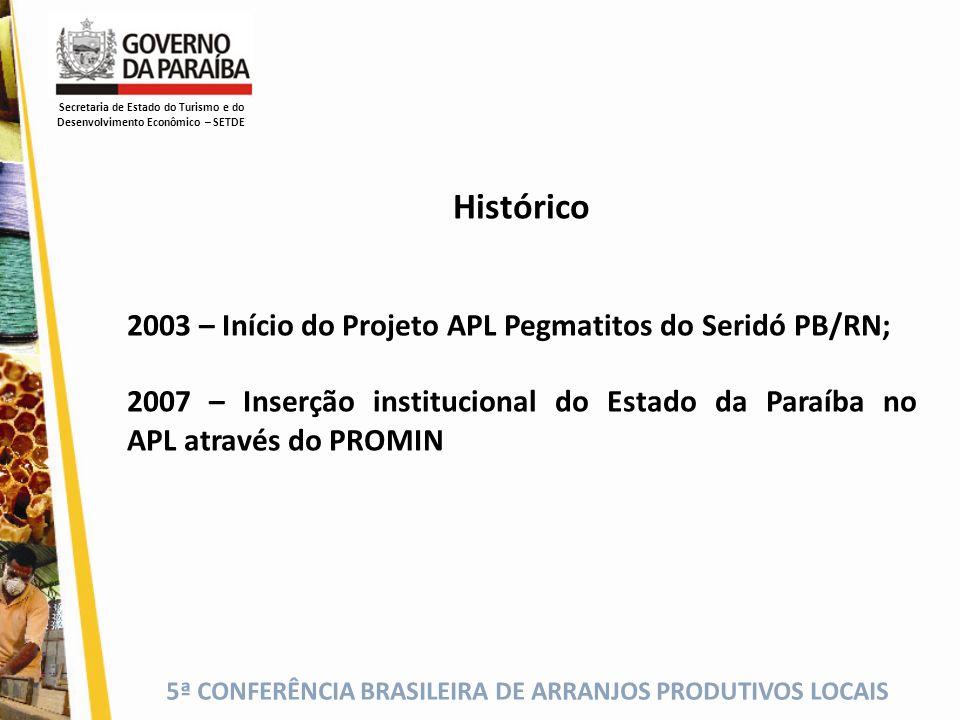 5ª CONFERÊNCIA BRASILEIRA DE ARRANJOS PRODUTIVOS LOCAIS Secretaria de Estado do Turismo e do Desenvolvimento Econômico – SETDE Histórico 2003 – Início