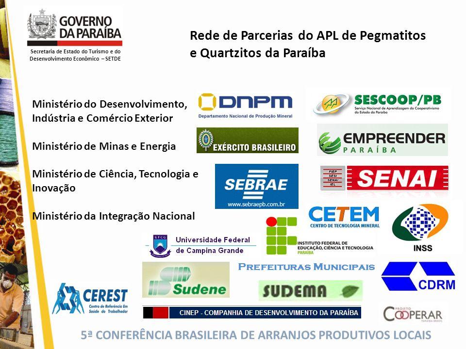 5ª CONFERÊNCIA BRASILEIRA DE ARRANJOS PRODUTIVOS LOCAIS Rede de Parcerias do APL de Pegmatitos e Quartzitos da Paraíba Secretaria de Estado do Turismo