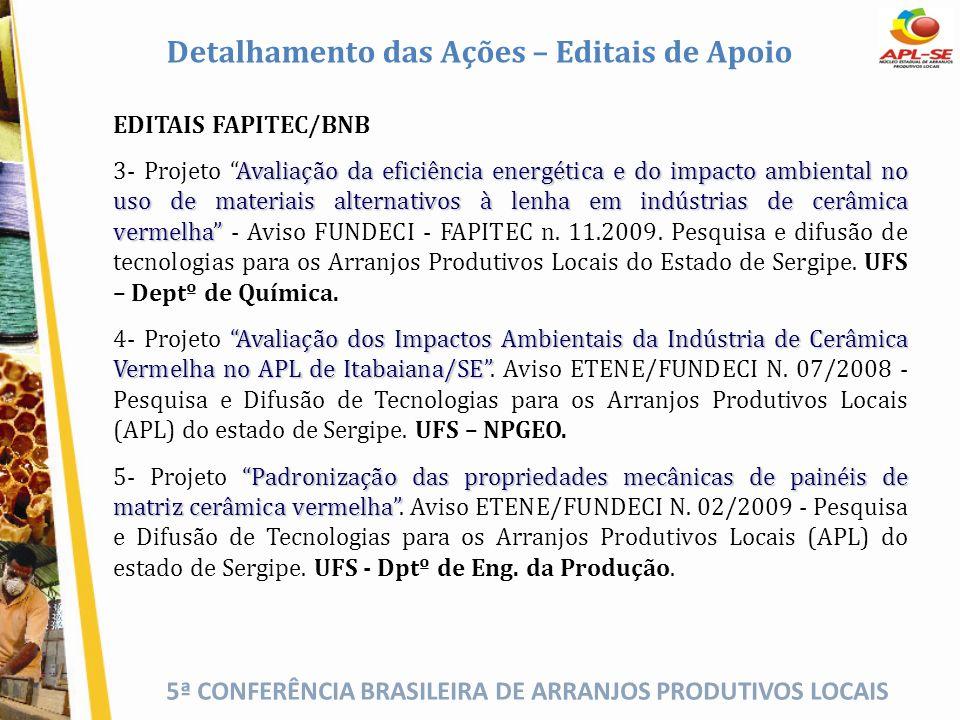 5ª CONFERÊNCIA BRASILEIRA DE ARRANJOS PRODUTIVOS LOCAIS EDITAIS FAPITEC/BNB Avaliação da eficiência energética e do impacto ambiental no uso de materi