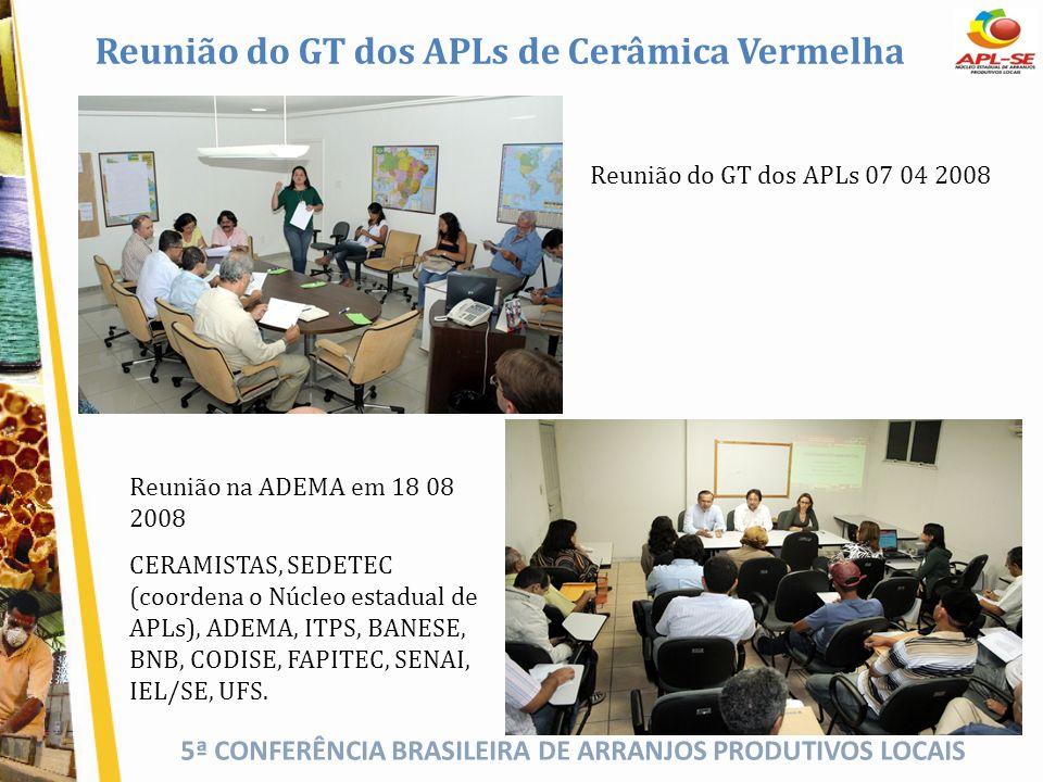 5ª CONFERÊNCIA BRASILEIRA DE ARRANJOS PRODUTIVOS LOCAIS Reunião do GT dos APLs de Cerâmica Vermelha Reunião na ADEMA em 18 08 2008 CERAMISTAS, SEDETEC