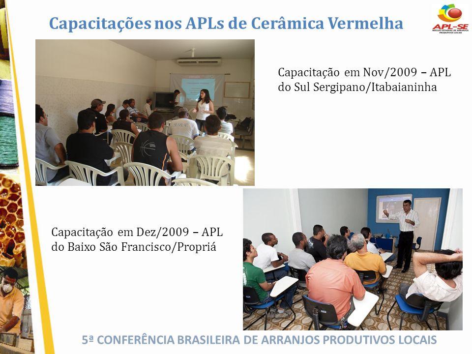 5ª CONFERÊNCIA BRASILEIRA DE ARRANJOS PRODUTIVOS LOCAIS Capacitações nos APLs de Cerâmica Vermelha Capacitação em Nov/2009 – APL do Sul Sergipano/Itab