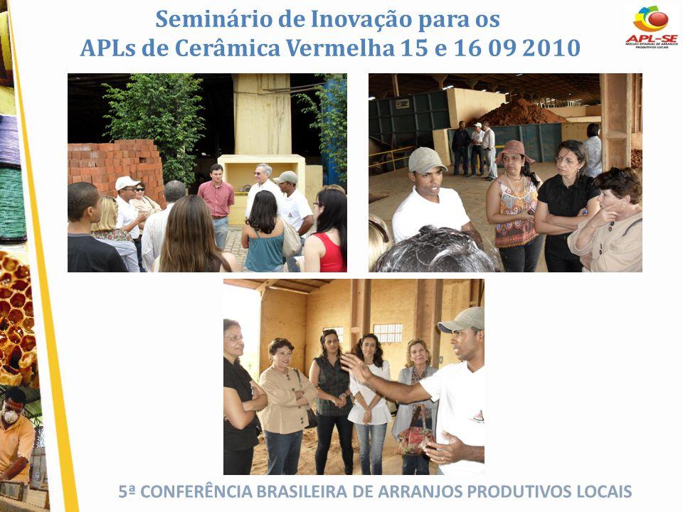 5ª CONFERÊNCIA BRASILEIRA DE ARRANJOS PRODUTIVOS LOCAIS Seminário de Inovação para os APLs de Cerâmica Vermelha 15 e 16 09 2010