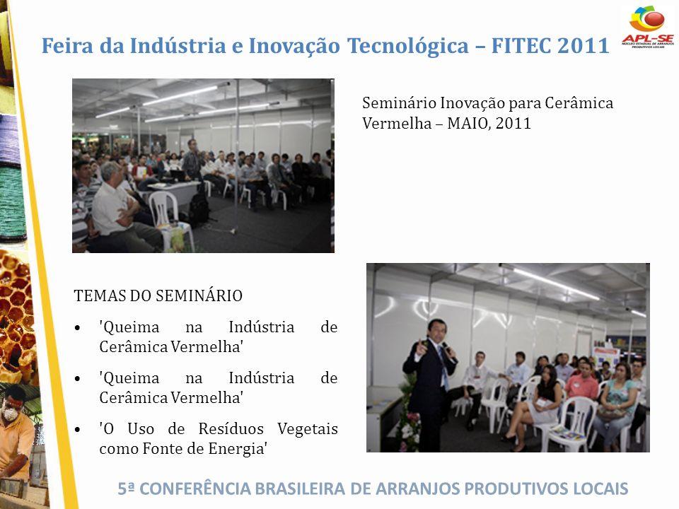 5ª CONFERÊNCIA BRASILEIRA DE ARRANJOS PRODUTIVOS LOCAIS Feira da Indústria e Inovação Tecnológica – FITEC 2011 Seminário Inovação para Cerâmica Vermel