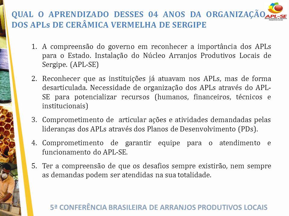 5ª CONFERÊNCIA BRASILEIRA DE ARRANJOS PRODUTIVOS LOCAIS QUAL O APRENDIZADO DESSES 04 ANOS DA ORGANIZAÇÃO DOS APLs DE CERÂMICA VERMELHA DE SERGIPE 1.A