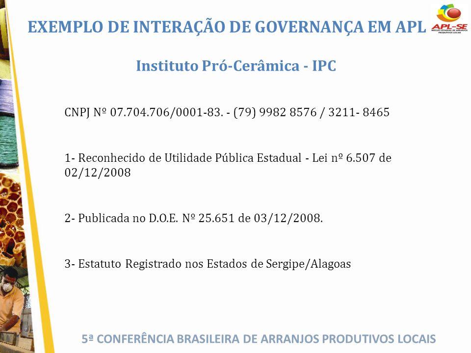 5ª CONFERÊNCIA BRASILEIRA DE ARRANJOS PRODUTIVOS LOCAIS Instituto Pró-Cerâmica - IPC CNPJ Nº 07.704.706/0001-83. - (79) 9982 8576 / 3211- 8465 1- Reco
