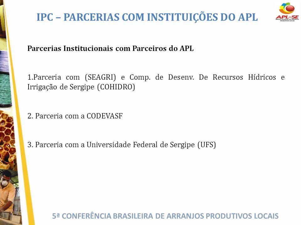 5ª CONFERÊNCIA BRASILEIRA DE ARRANJOS PRODUTIVOS LOCAIS IPC – PARCERIAS COM INSTITUIÇÕES DO APL Parcerias Institucionais com Parceiros do APL 1.Parcer