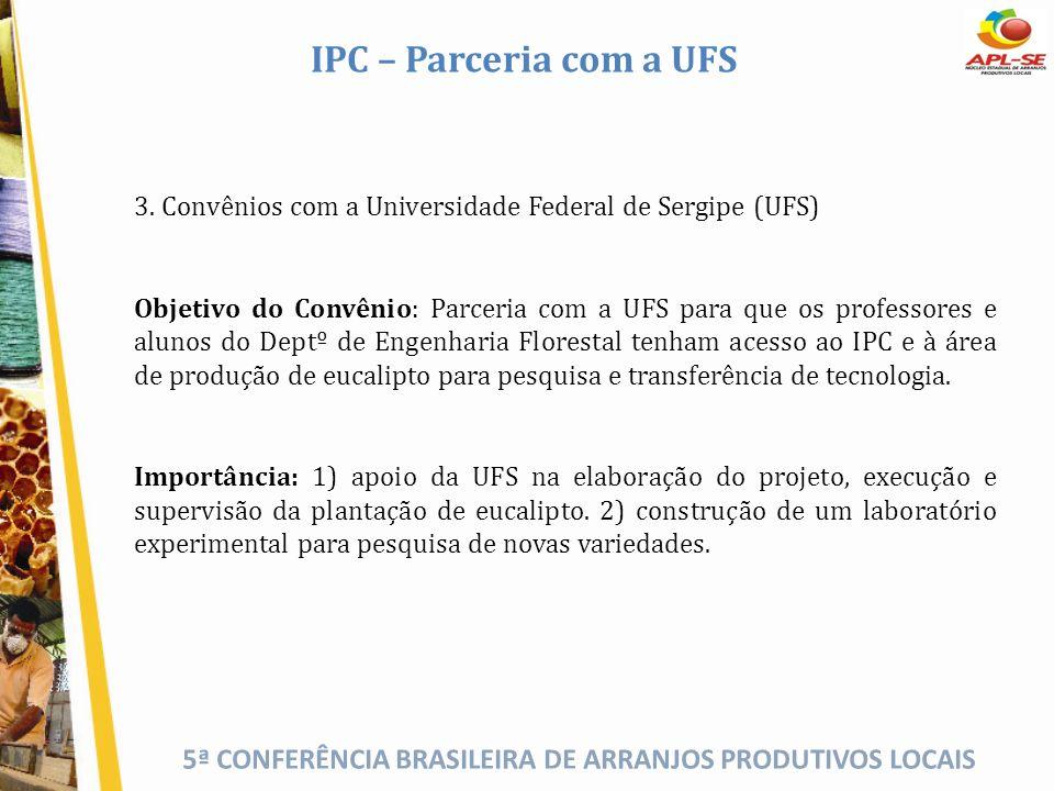 5ª CONFERÊNCIA BRASILEIRA DE ARRANJOS PRODUTIVOS LOCAIS IPC – Parceria com a UFS 3. Convênios com a Universidade Federal de Sergipe (UFS) Objetivo do