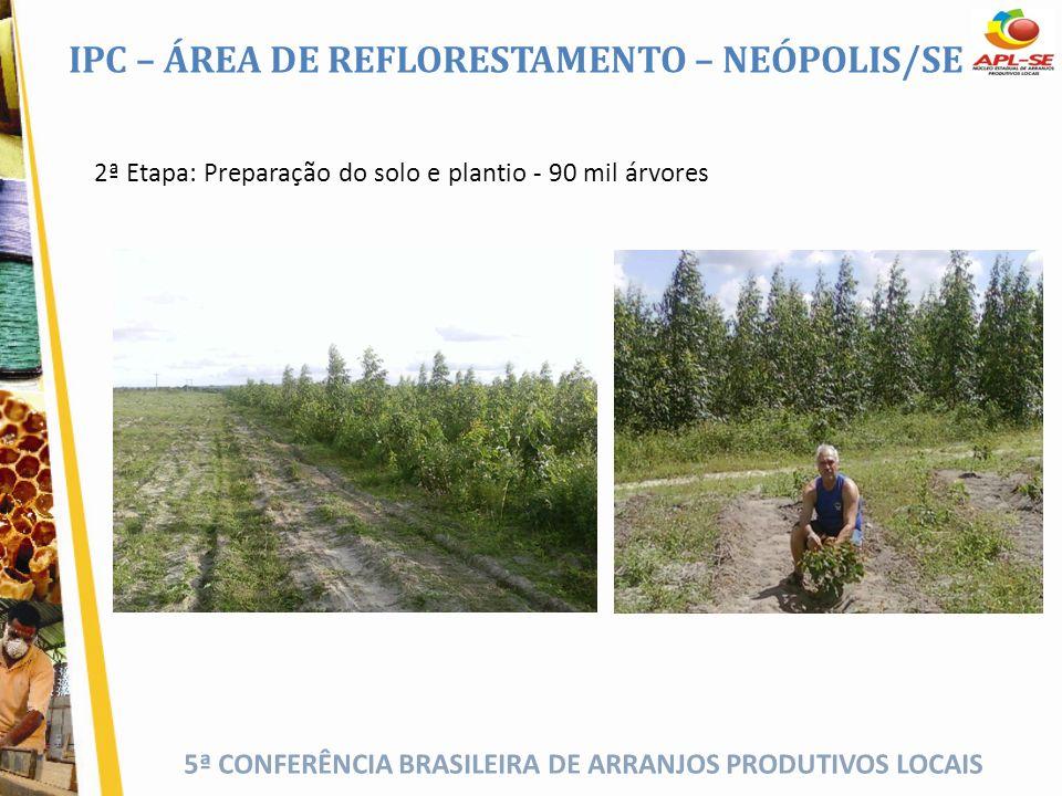 5ª CONFERÊNCIA BRASILEIRA DE ARRANJOS PRODUTIVOS LOCAIS 2ª Etapa: Preparação do solo e plantio - 90 mil árvores IPC – ÁREA DE REFLORESTAMENTO – NEÓPOL