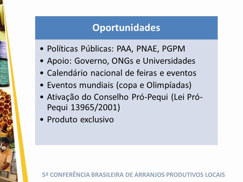 5ª CONFERÊNCIA BRASILEIRA DE ARRANJOS PRODUTIVOS LOCAIS Oportunidades Políticas Públicas: PAA, PNAE, PGPM Apoio: Governo, ONGs e Universidades Calendá
