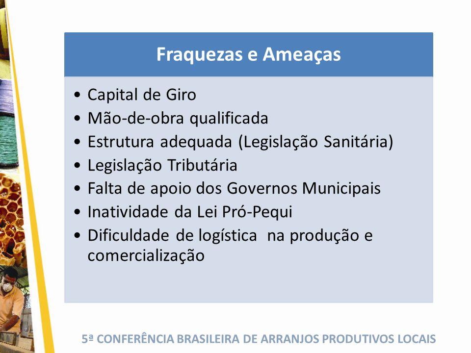 5ª CONFERÊNCIA BRASILEIRA DE ARRANJOS PRODUTIVOS LOCAIS Fraquezas e Ameaças Capital de Giro Mão-de-obra qualificada Estrutura adequada (Legislação San
