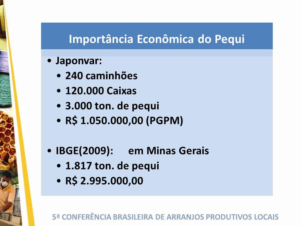 5ª CONFERÊNCIA BRASILEIRA DE ARRANJOS PRODUTIVOS LOCAIS Importância Econômica do Pequi Japonvar: 240 caminhões 120.000 Caixas 3.000 ton. de pequi R$ 1