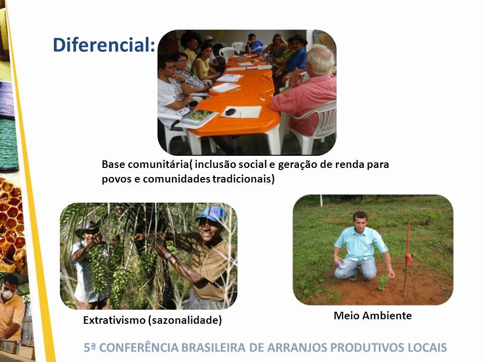 5ª CONFERÊNCIA BRASILEIRA DE ARRANJOS PRODUTIVOS LOCAIS Diferencial: Extrativismo (sazonalidade) Meio Ambiente Base comunitária( inclusão social e ger