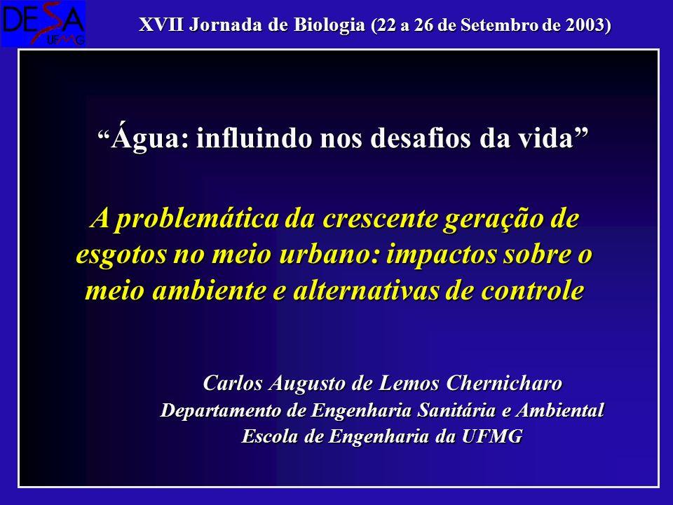 Carlos Augusto de Lemos Chernicharo Departamento de Engenharia Sanitária e Ambiental Escola de Engenharia da UFMG Água: influindo nos desafios da vida