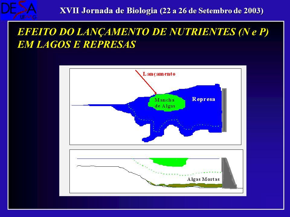 XVII Jornada de Biologia (22 a 26 de Setembro de 2003) EFEITO DO LANÇAMENTO DE NUTRIENTES (N e P) EM LAGOS E REPRESAS