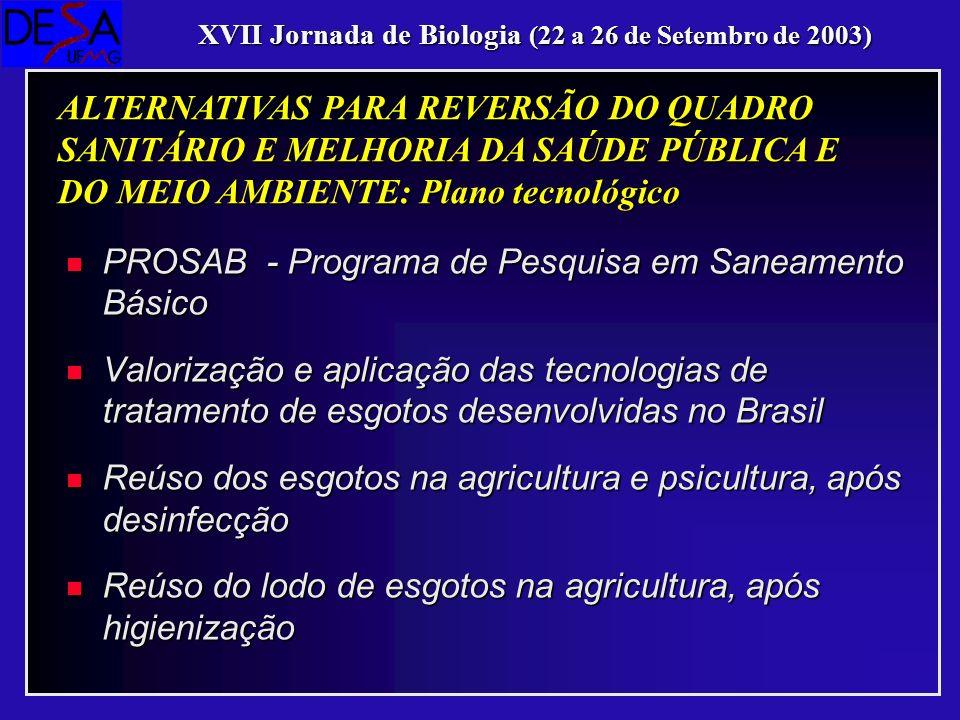 n PROSAB - Programa de Pesquisa em Saneamento Básico n Valorização e aplicação das tecnologias de tratamento de esgotos desenvolvidas no Brasil n Reús